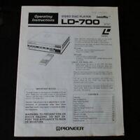 Pioneer LaserDisc Video Disc Player Manual Unit LD-700 Operating Instructions
