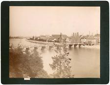 Suisse, Bâle, vue sur le Rhin et les ponts le long du fleuve  Vintage albumen pr