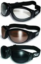 3 Eliminator Motorcycle Goggles Padded Skydive Clear DRM Super Dark Motor Sports
