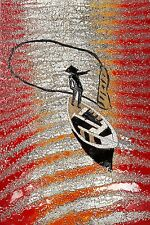 Vietnamese Art Lacquer Picture - The fisher man with fishing net on river