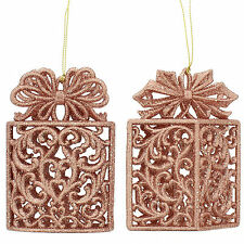 11.5cm Christmas Copper Glitter Gift Box Hanging Tree Ornament Decoration