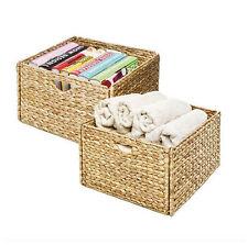 Woven Wicker Storage Basket Set 2 Baskets Bin Box Organizer Container Decorative