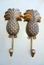 "2 large PINEAPPLE COAT HOOKS solid age brass  vintage old style 7"" hook B"
