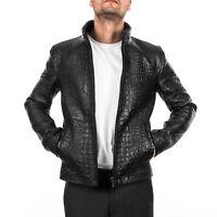 Italian handmade men genuine leather slim fit jacket Black crocodile XS to 2XL