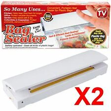 2 x Battery Operated Heat Bag Sealer Kitchen Catering Fresh Protect Keep Safe