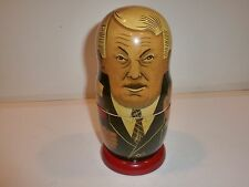 Vintage Soviet Leaders 6-Piece Nesting Doll Figurine Set-Lenin to Yeltsin