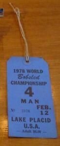 1978 World Bobsled Championship Jacket Tag Ticket Lake Placid NY USA 4 Man