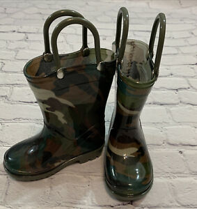 Storm Kidz Toddler Size 5 Rubber Rain Boots Pull On  Camo Print NEW