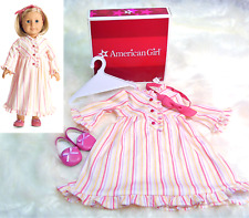 American Girl Doll KIT'S STRIPED NIGHTIE Nightgown Pajamas Slippers Headband BOX