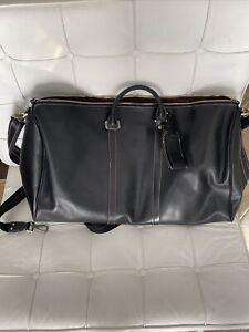 Leather Travel Bag Duffel Weekender Large Duffle Carry On Luggage Black NIB