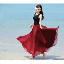 UK Women Beach Party Chiffon Pleated Long Maxi Skirt Dress Burgundy