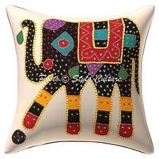 Home Decor Indian Cotton Cushions Black Applique Elephant Pillow Covers Throw