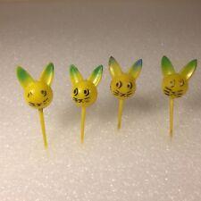 4 Vtg Mcm Hard Plastic Easter Bunny Rabbit Cat Cake Topper Pick Hong Kong