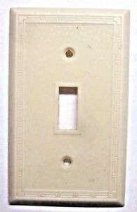 Snapit 1930 Dashed Fine Lines Beige Bakelite Switch Wall Plate Box Cover Antique