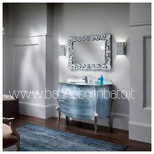 mobile bagno stile barocco bombato legno laccato cristallo argento lusso