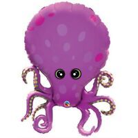 """LARGE FOIL SUPERSHAPE BALLOON PURPLE OCTOPUS 35"""" BIRTHDAY PARTY SUPPLIES"""