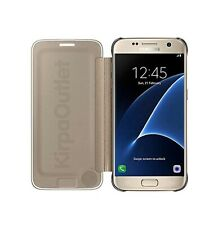 NEW GENUINE SAMSUNG GALAXY S7 GOLD CLEAR VIEW COVER FLIP CASE WALLET