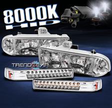 1998-2004 CHEVY S10/BLAZER CHROME CRYSTAL HEAD LIGHT+LED BUMPER SIGNAL+8000K HID