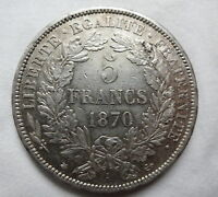 FRANCE 5 francs 1870 A XF Silver Paris Liberty