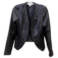 Joseph Ribkoff Blazer Open Front Moto Jacket Black Faux Leather Zip Pockets 6