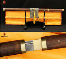 FULL TANG NINJA SHIRASAYA SWORD JAPANESE DAMASCUS STRAIGHT BLADE HuaLee Wood