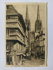 Quimper Brittany France B&W Postcard c1920s Rue Kereon