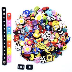 US Stock 100PCS Random Shoe Charms PVC Decoration Fit Clogs Bracelets Kids Gifts