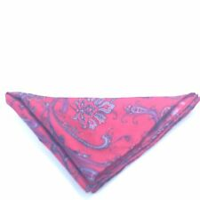 $125 RYAN SEACREST Men RED BLACK PINK PAISLEY HANDKERCHIEF CASUAL POCKET SQUARE