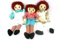 Vintage 21 inch Raggedy Ann and Andy Dolls Lot of 3 Stuffed Plush Dressed