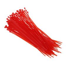 100 x 3 mm x 200 mm Red patch clamp stop cable wire tie G7X1