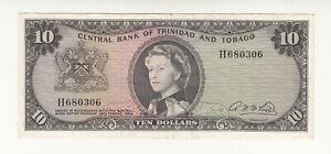 Trinidad & Tobago 10 dollars 1964 circ. p28b QEII @ low start
