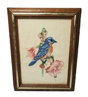 Blue Love Bird Pink Flowers Framed Completed Counted Cross Stitch Picture Rust