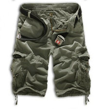 Mens Army Military Combat Camo Cargo Shorts Pant Work Camo Slim Casual Trouser