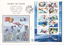 Enveloppe grand format 1er jour 2004 Sports de Glisse