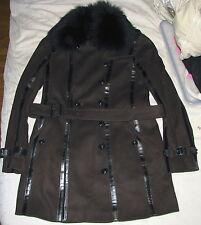Burberry Wool Cashmere Trench Coat Jacket Women's 10 Detachable Raccoon Fur