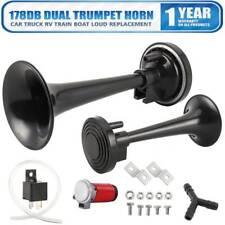 Air Horn Single Trumpet Horns Super-loud For Truck RV Car Train Black 12V 178DB