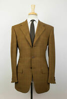 New D'AVENZA Brown Check Wool 3 Roll 2 Button Sport Coat Blazer 48/38 R $2995