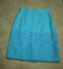 1126  Antonio Melani Blue Heavy Weave Lace Border Pencil Skirt 2