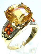 10K YELLOW GOLD DIAMOND CITRINE MEXICAN FIRE OPAL RING