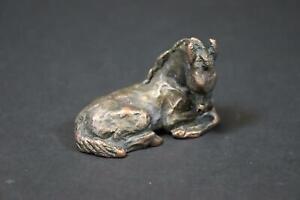 Liegendes Pferd Fohlen Bronzefigur signiert Friderun EILERS (1916-2011) (DK471)