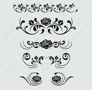 BAROQUE ROSES SET Reusable Stencil A3 A4 A5  Valentine's Art Craft   / deco16
