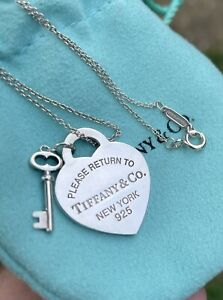 Tiffany & Co Return to Tiffany Heart Tag Key Pendant Sterling Silver Necklace 16
