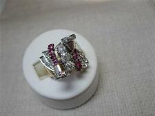 Art Deco Ring .89 CT Diamond Ruby 14K Bells Hollywood Regency Christmas Antique