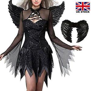Fallen Angel Fairy Ladies Girls Fancy Dress Halloween Costume Dress + Wings Halo
