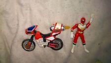VINTAGE 1996 MMPR Power Rangers ZEO RED RANGER CYCLE & RED ZEO RANGER original