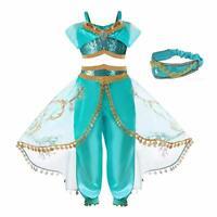 Kid Girls Princess Jasmine Cos Costume Aladdin Party Dress With Hair accessories