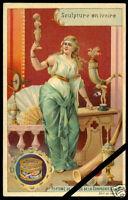 Victorian Trade Card Antique 1899 Extrait De Viande Liebig Sculpture Enivoire