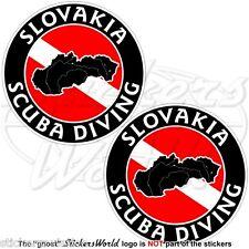 SLOVACCHIA SCUBA DIVING Immersione Subacquea Mappa 75mm Adesivi Circolari x2