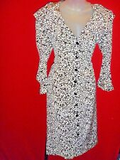 ~~LANVIN France Vintage Rare Black White 100% Silk Scroll Pattern Dress Sz 38~~