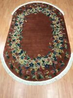 """4'10"""" x 8' Antique Oval Chinese Art Deco Oriental Rug - 1930s - Hand Made"""